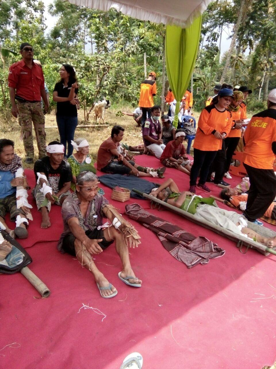 Latihan penanggulangan bencana di Pandansari Kec. Ngantang