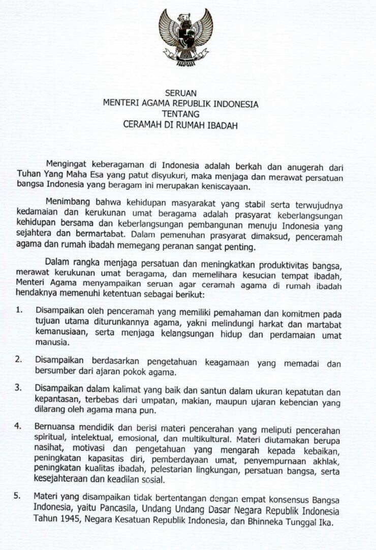 Meneruskan Seruan Menteri Agama Republik Indonesia Tentang Ceramah Di Rumah Ibadah