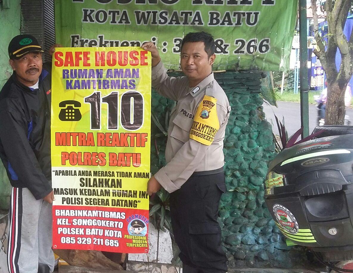 SAMBANG, SAFE HOUSE 110 RUMAH AMAN KAMTIBMAS MITRA REAKTIF BHABIN KEL. SONGGOKERTO POLSEK BATU KOTA
