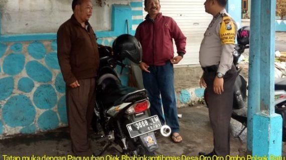 Giat DDS dan Tatap Muka, Bhabinkamtibmas Desa Oro Oro Ombo Polsek Batu Polres Batu Tatap Muka Dengan Paguyuban Ojek