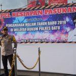 Polres Batu laksanakan Apel kesiapan Pengamanan perayaan tahun baru 2019 di Alun Alun kota Batu
