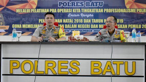 Jelang Natal Dan Tahun Baru, Kapolres Batu Pimpin Lat Pra Ops Lilin Semeru 2018
