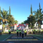 Anggota Satlantas Polres Batu Giatkan Apel Pagi Sebelum Melaksanakan Poros Pagi Di Halaman Mako Polres Untuk Mnejaga Kesiapan Anggota Di Pagi Hari